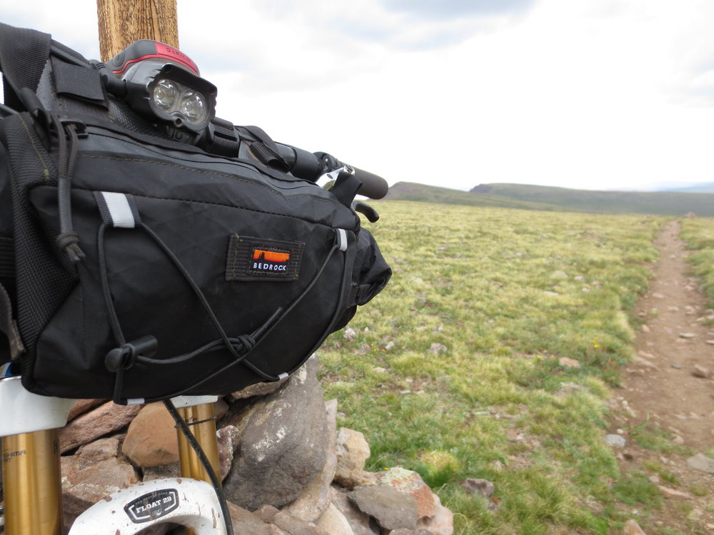 An older generation of the Entrada handlebar bag during the 2013 CTR.
