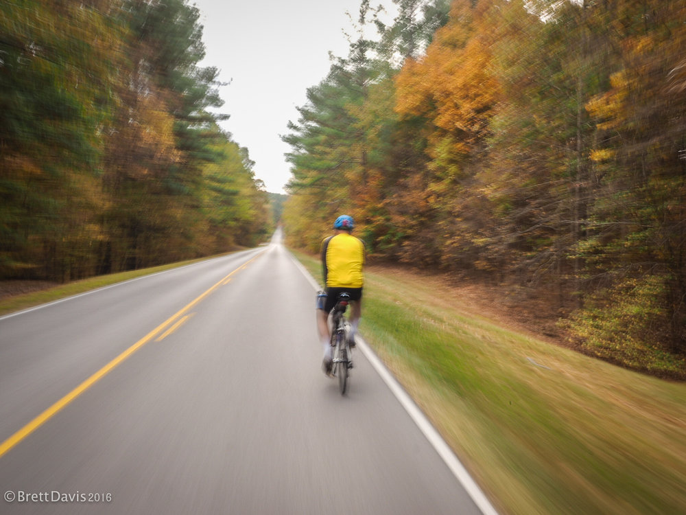 What little fall colors we encountered were a blur from the fast descents in the Tennessee hill country.