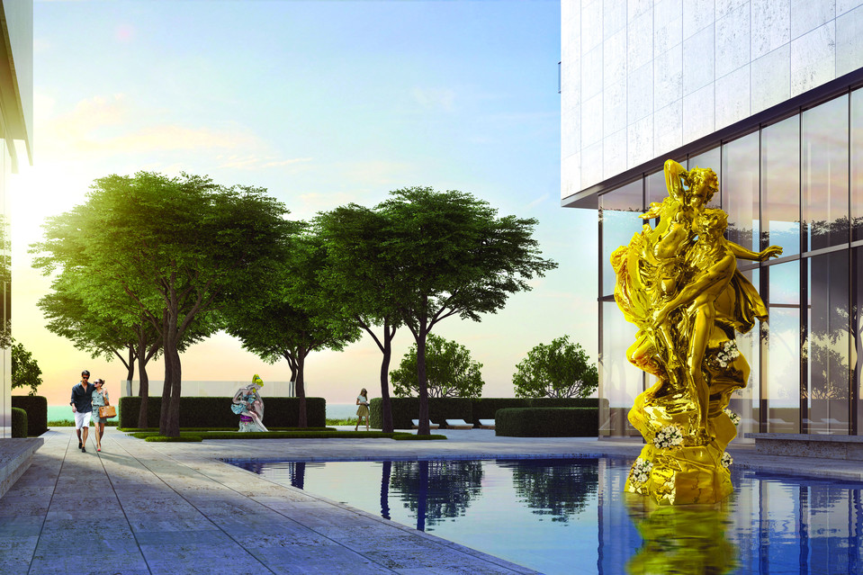 Jeff Koons's 'Pluto and Proserpina.' Both sculptures are made of mirror-polished stainless steel, with live flower plants. Oceana Bal Harbour