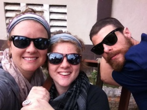 Joy with bro and sis, in Haiti