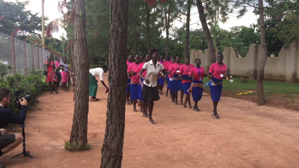 The girls' at Christine House doing a 'welcome dance' when we arrived the first night.