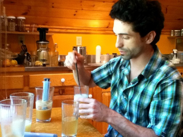 Ethan working on flavor development in our kitchen, 2011.