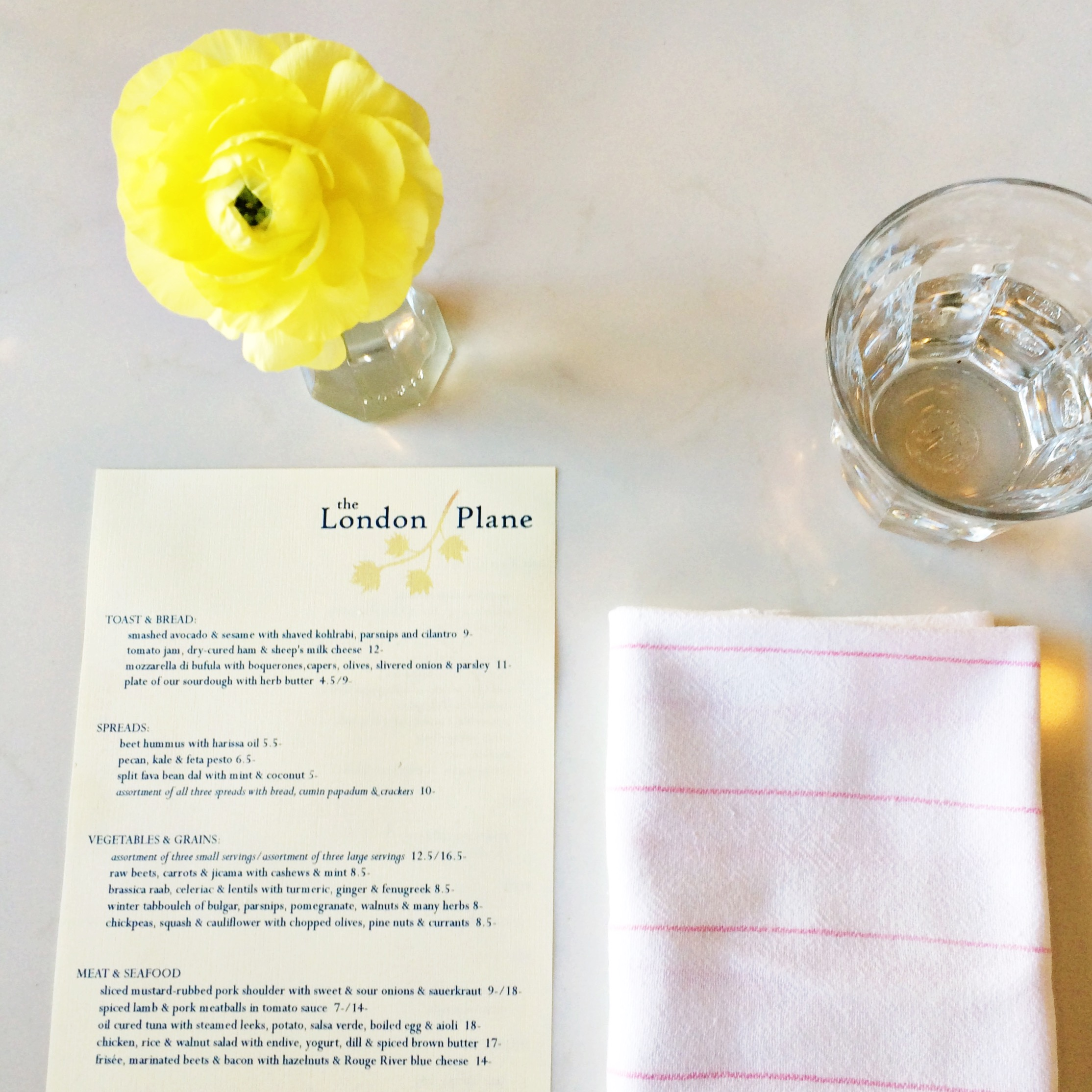 The London Plane Menu