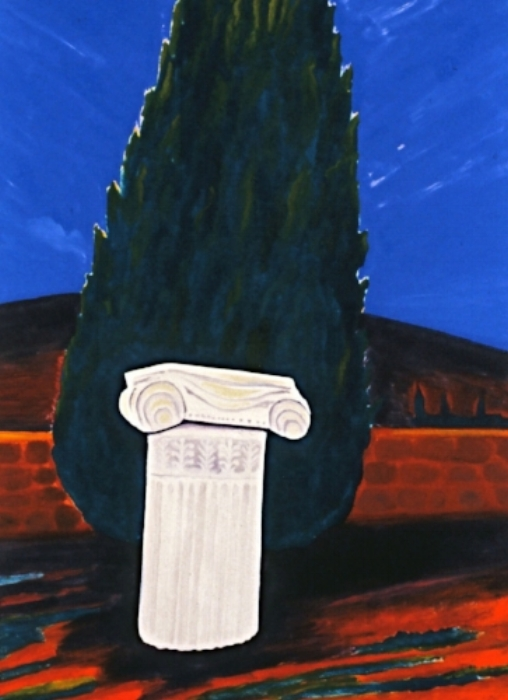 Fragment Greek Pillar with Cypress