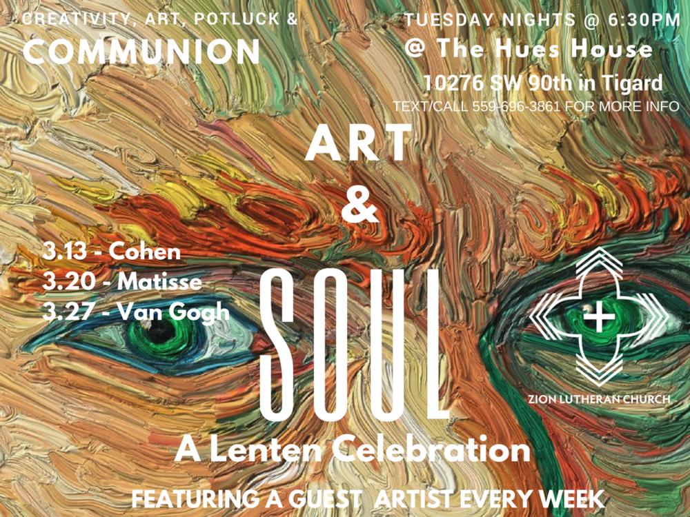 Join us on Tuesday for our next installment of Art & Soul!