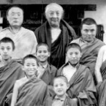 Tsoknyi Rinpoche as a young student (2nd step, 1st on right) with other tulkus