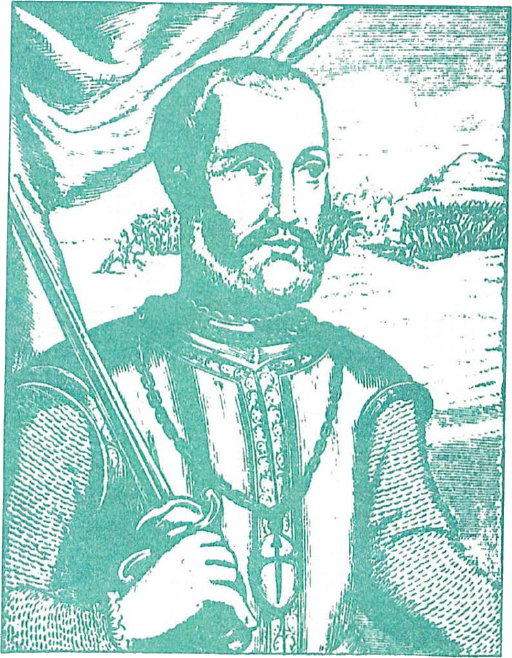Don Pedro de Alvarado, Conquistadore de El Salvador (Tomollo do Horrero, Decadas, Madrid, 1601)