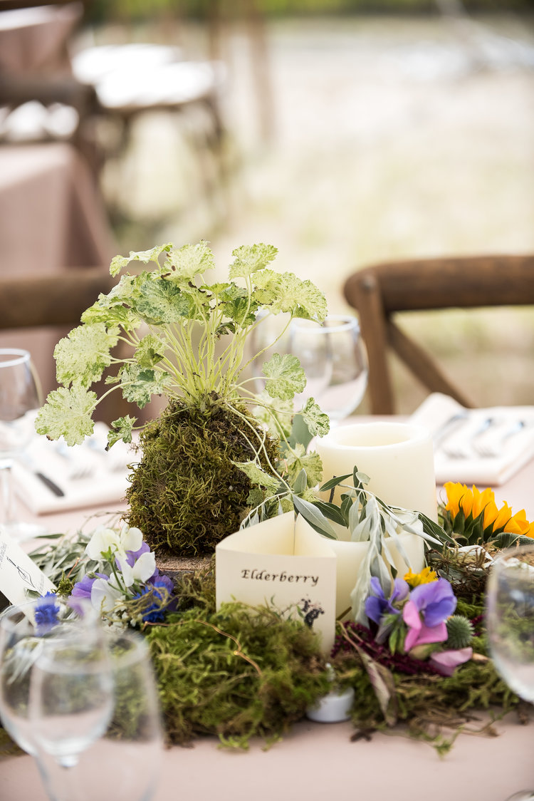 Wedding floral centerpiece with greens, moss, and flowers