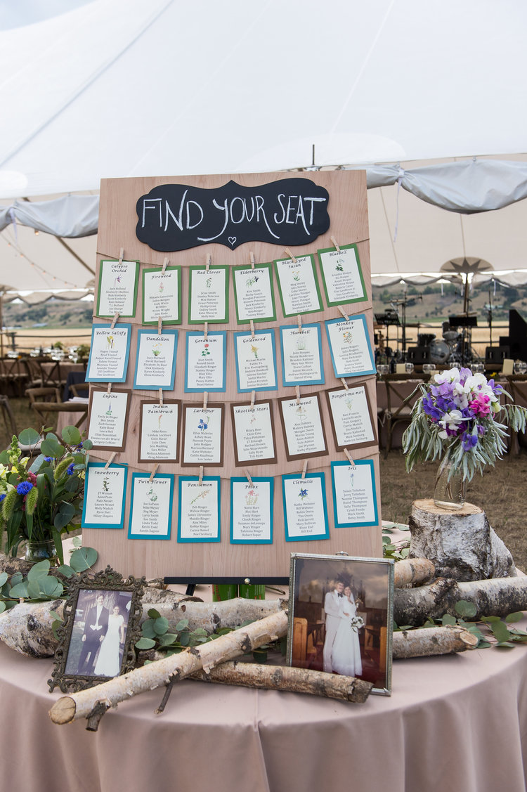 Wedding escort card table design with flowers