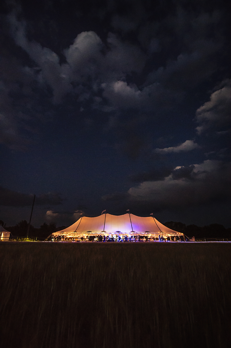 Wedding tent view at night