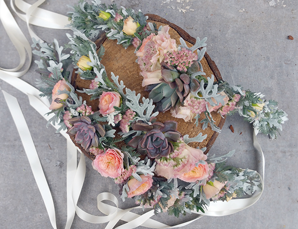 Floral crown with succulents and pink flowers