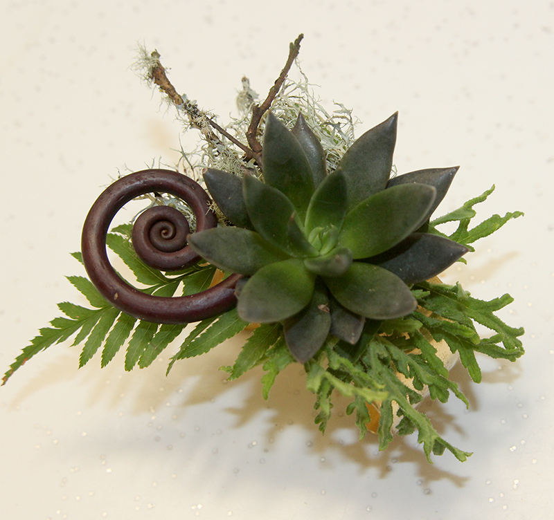 Floral corsage for wedding with succulent and fern