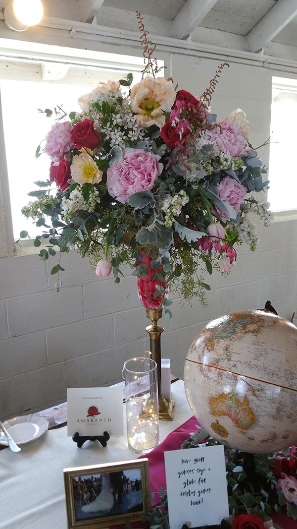Floral arrangement on pedestal