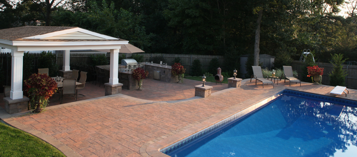 landscape design for patios that are outdoor rooms in melville and hauppauge, ny