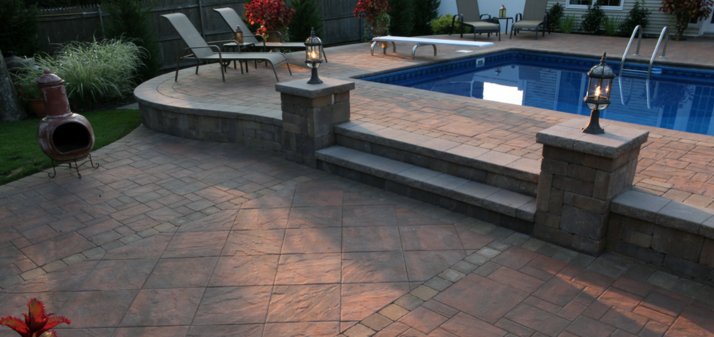 rectangular swimming pool design and walk up patio in Long Island, NY