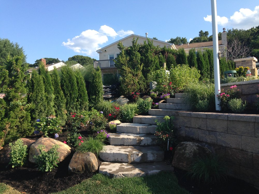 Backyard designs with steps in Huntington, NY