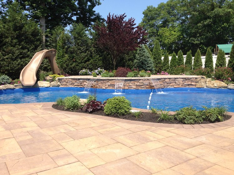 NY Family Friendly Swimming Pool Design With Slide In Smithtown