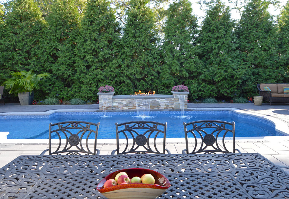 hicksville, NY outdoor dining area landscape design swimming pool