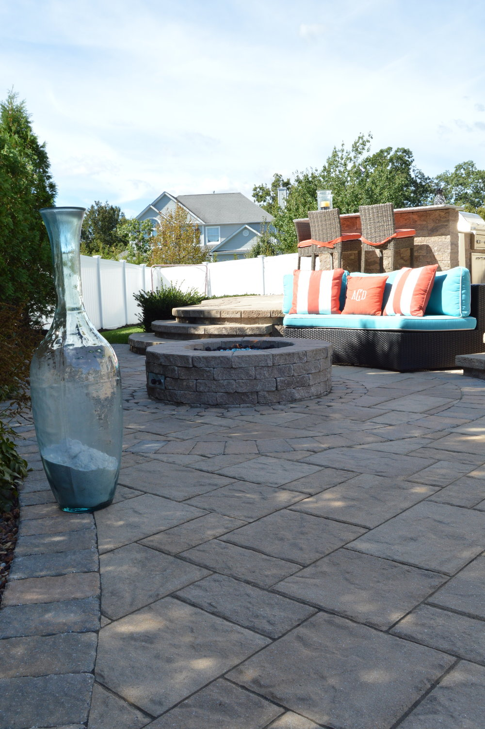 Custom outdoor fireplace in Syosset, NY
