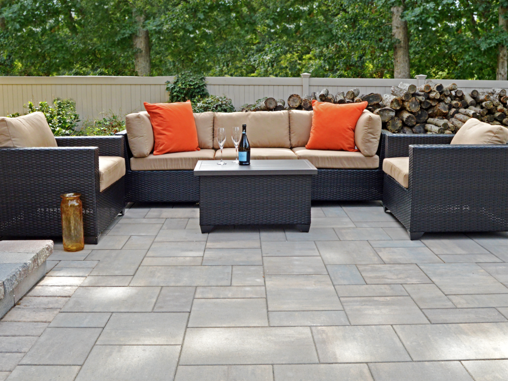 Nesconset, NY outdoor living area with firewood