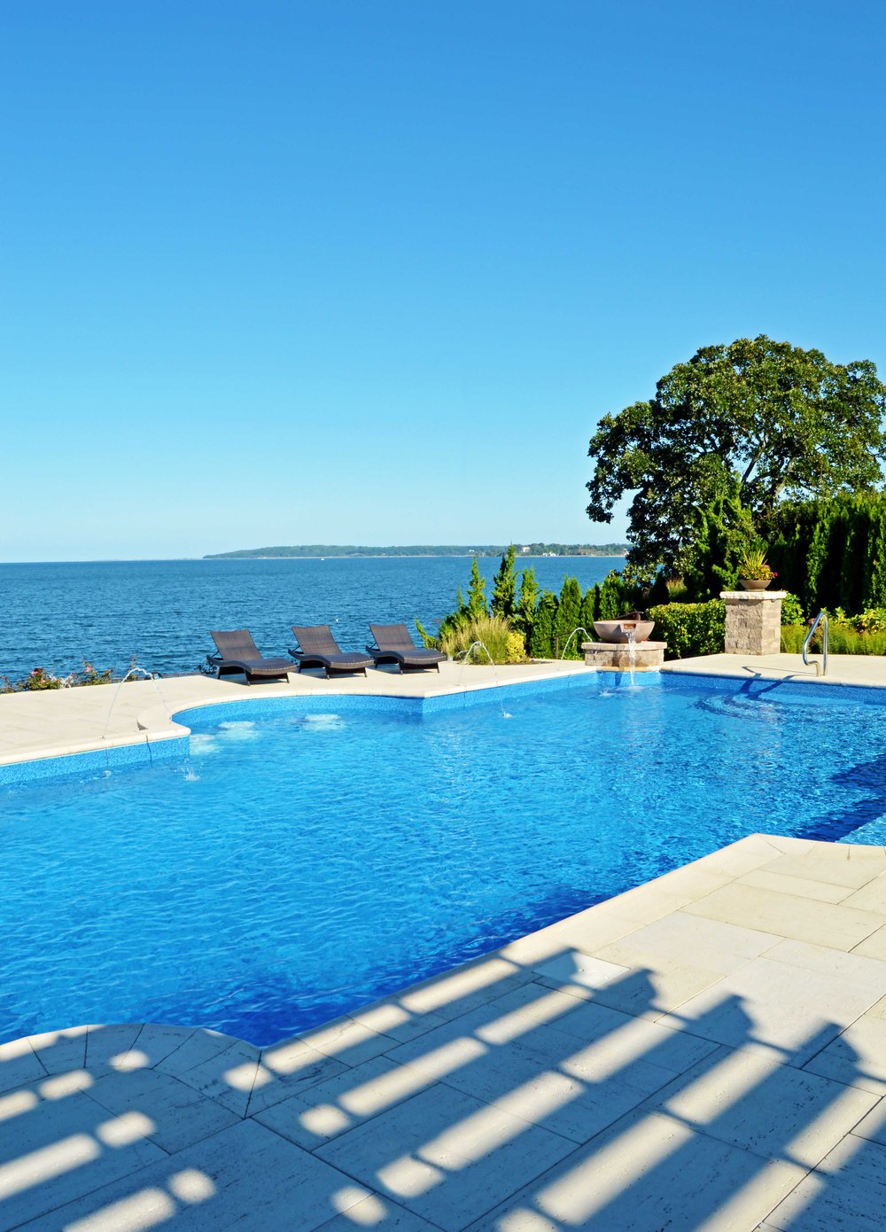 landscaping and swimming pool in bayville, NY