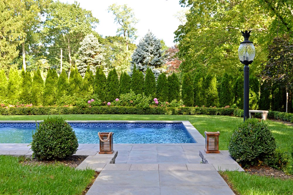 paver patio and swimming pool modern Northport, NY