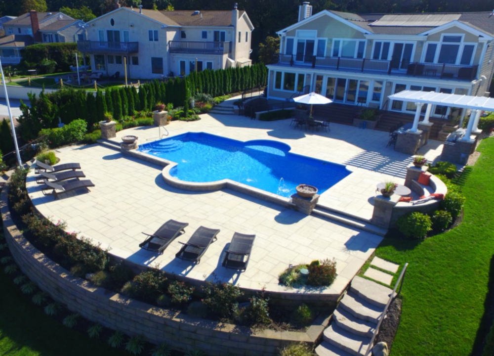 birds eye view of swimming pool project on the north shore in Bayville, NY