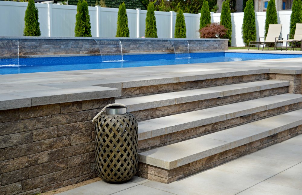 Landscape design with steps in Hauppauge, NY