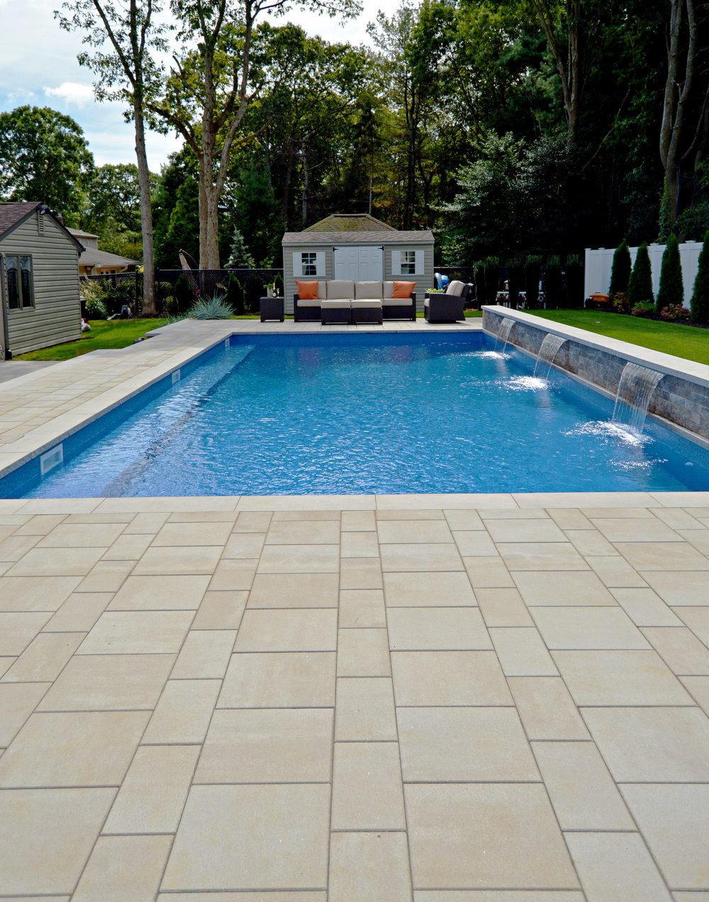 Landscape design with swimming pool in Hauppauge, NY