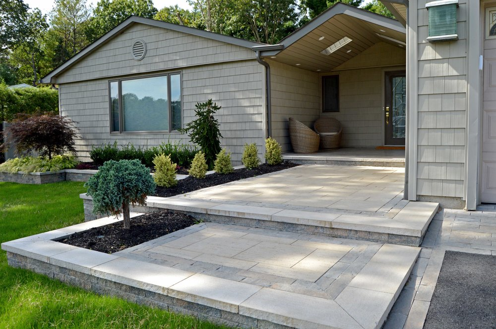 Landscape design with patio in Hauppauge, NY