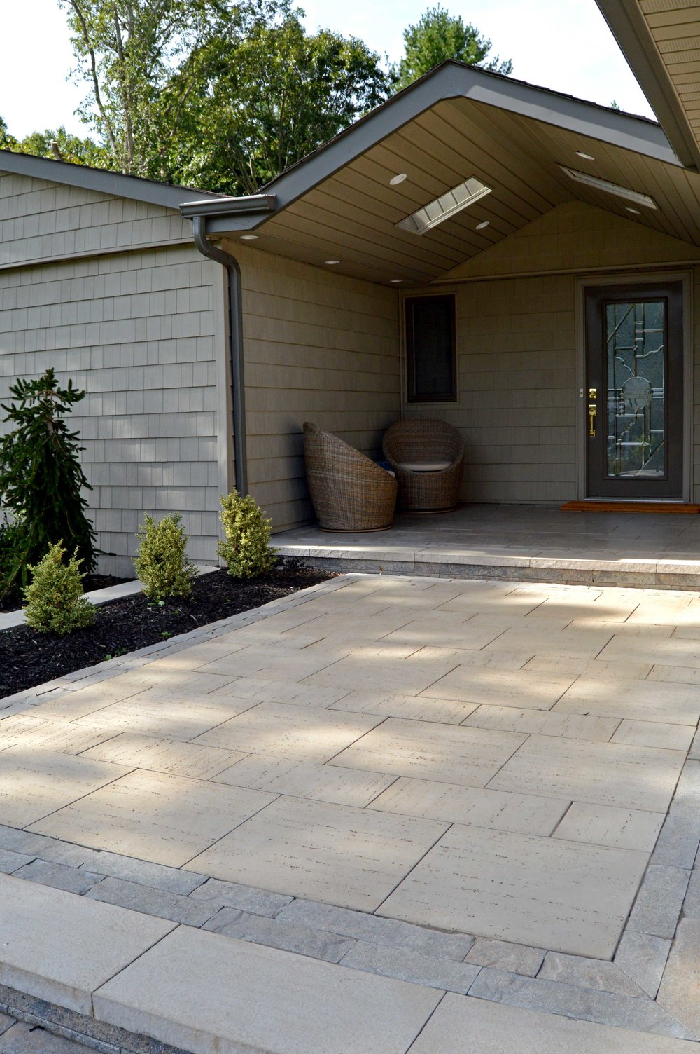 Landscape design with front entrance in Hauppauge, NY