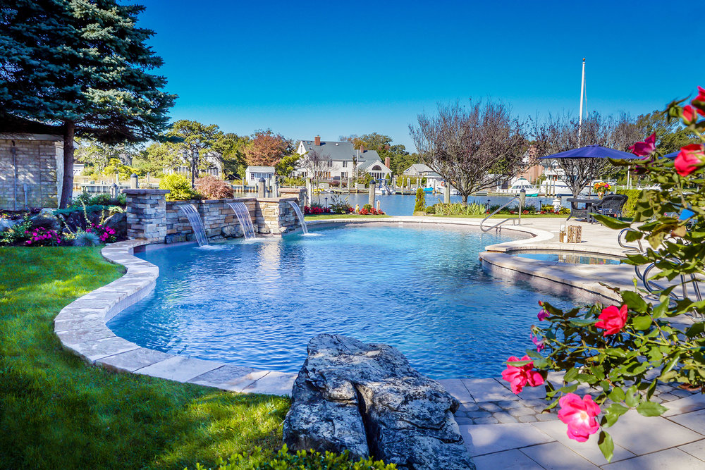 Port Jefferson, NY outdoor kitchen, swimming pool, and patio