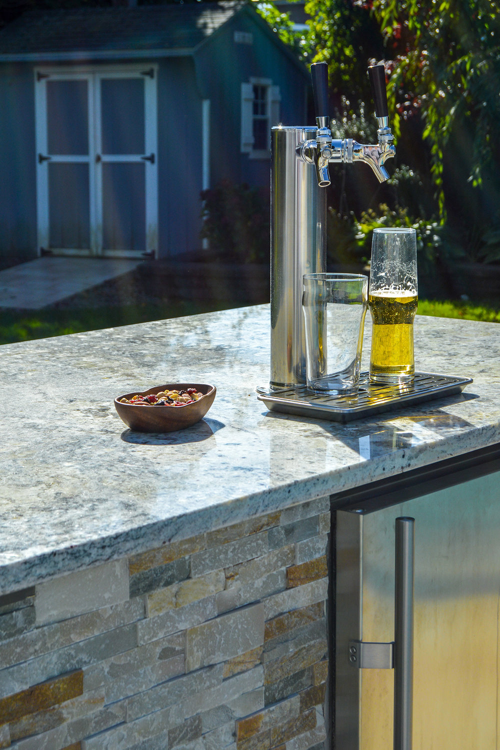 Natural stone outdoor kitchen in Plainview, NY