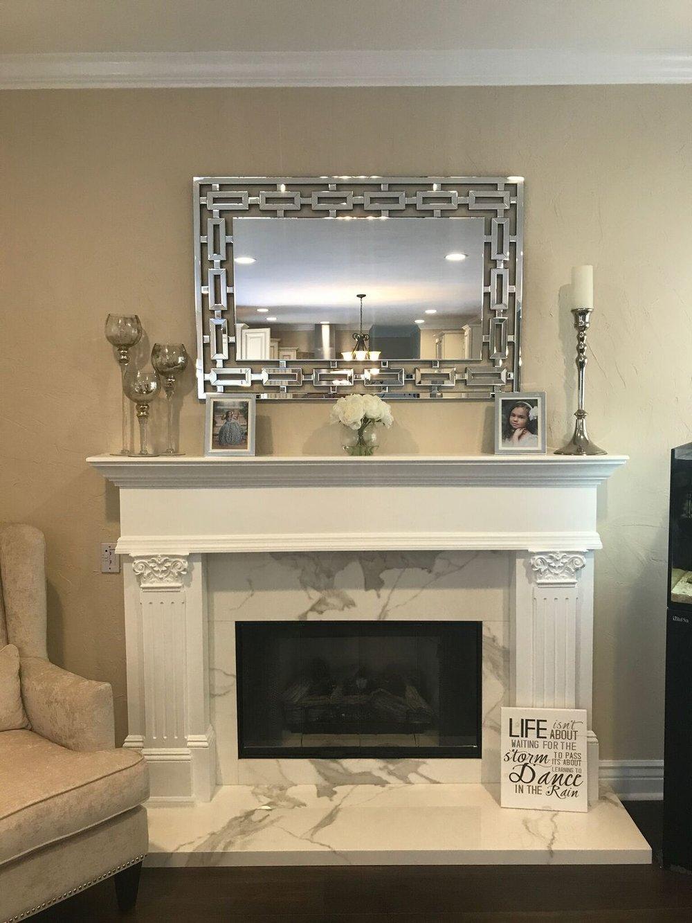 White interior masonry fireplace on Long Island ny