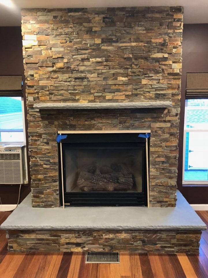 Interior masonry fireplace on Long Island NY