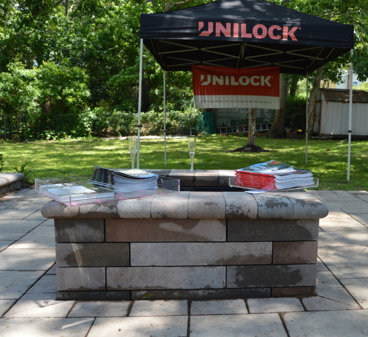 New outdoor fireplace in Glen Cove, NY