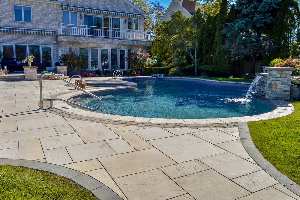 Bethpage, NY top backyard designs with swimming pool and outdoor kitchen