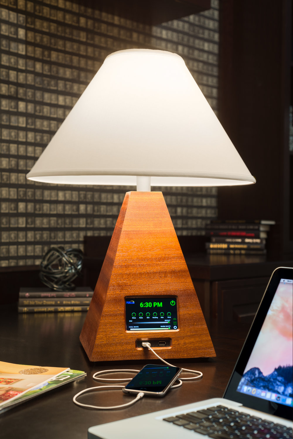 The Orchid LED Lamp master with touch screen controls.