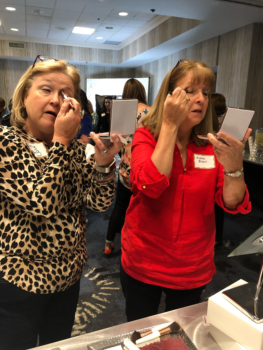 MEGA event attendees were the first to test drive our new products, like the OUT THE DOOR Cheek & Eye Palettes shown here.