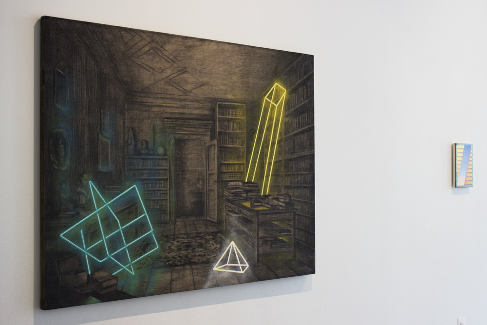 (left) Alejandro Pintado | Collecting Ideas | 2016 | charcoal and acrylic on linen | 44 x 60 inches  (right) Dan Perkins | Mirror Blind | 2016 | oil on canvas | 11 x 8 inches