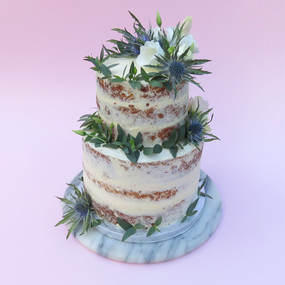Semi naked winter wedding cake