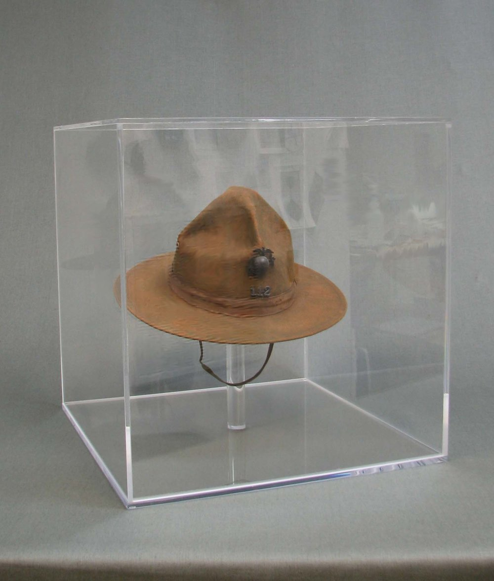 WWII Campaign Hat. Cleaned, interior support added and encased in UV filtering acrylic box.