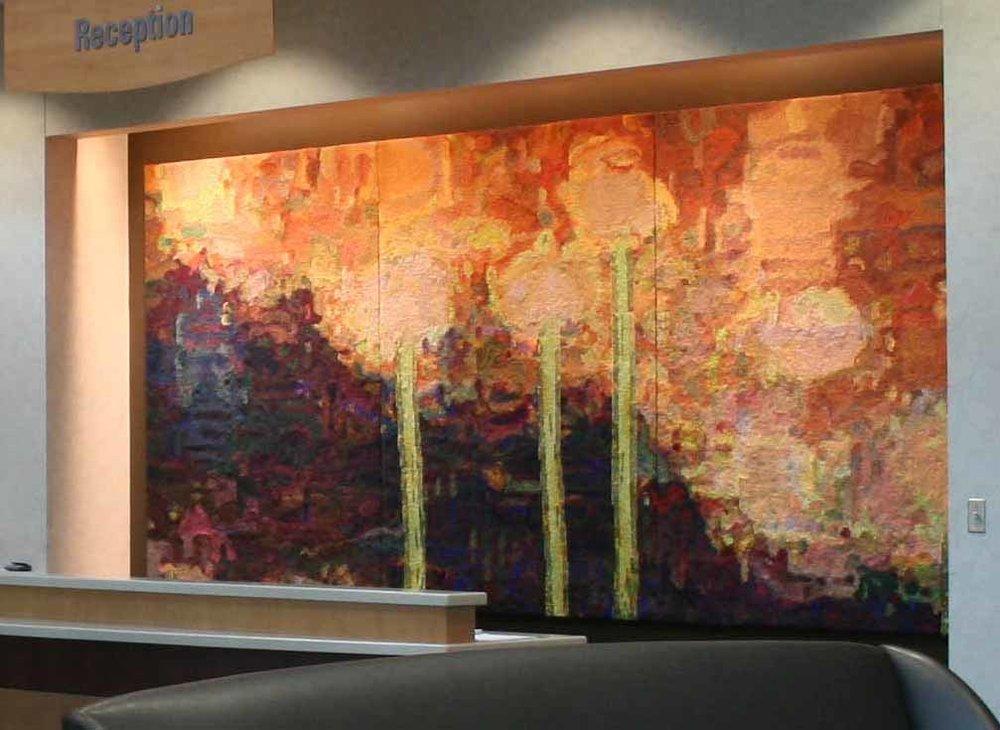 "Tapestry Triptych by artist Anne Mcginn, 78"" x 177"""