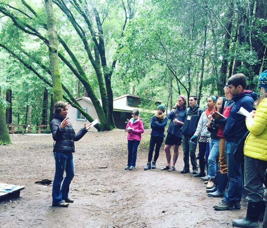 WOLF School naturalist Halley Finkel, aka Splash, leads astronomy workshop for a group of California outdoor educators at AEOE's 2017 Statewide Spring Conference.