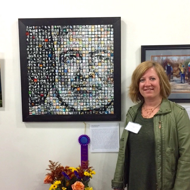 "Jen McNulty at  Art of Illinois  exhibition, where ""Papa Hemingway"" won Best of Show, Nov 2016."
