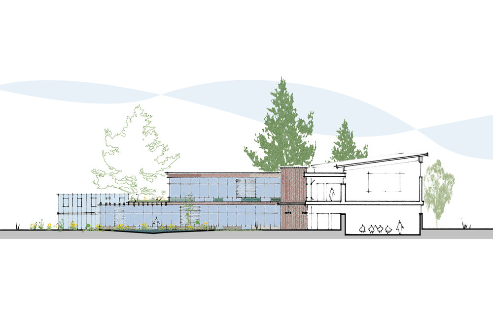 south elevation and section through classroom/auditorium spaces