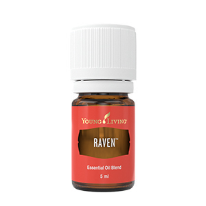 RAVEN   What:  a powerful blend to support your respiratory system.   Where:  we dilute Raven (it will always show you the ratio on the bottle) and apply to the chest, as well as to the throat and back.   Why:  to break up any mucus and to relieve any current congestion.   How:  apply topically as mentioned above, you can also make a chest rub with a few drops of Lemon and coconut oil or diffuse for a spa-like aroma.