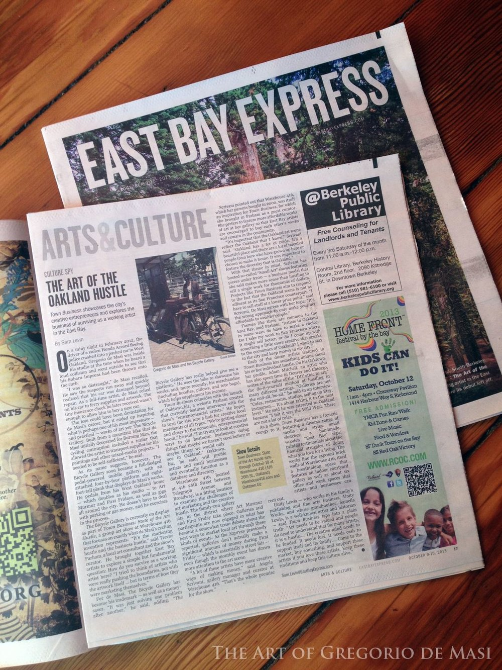 "East Bay Express interviewed me for an article about the Art of the Oakland Hustle, and my ""Bicycle Art Gallery"""
