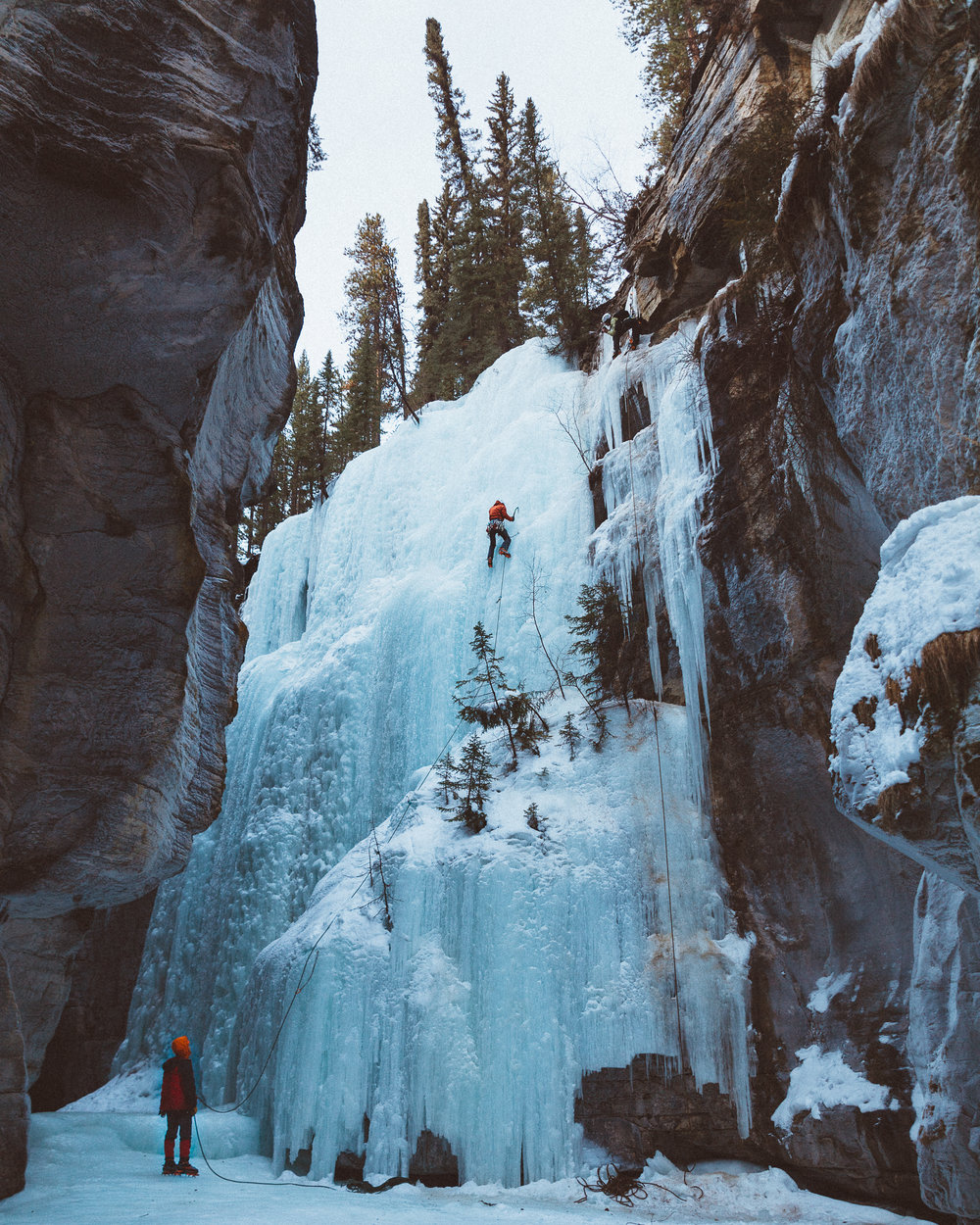 Ice climbers in Maligne Canyon