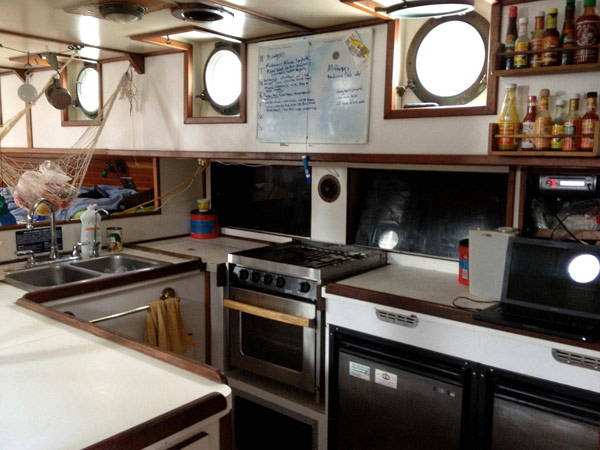 The galley, or kitchen, of the SoundWaters ship.